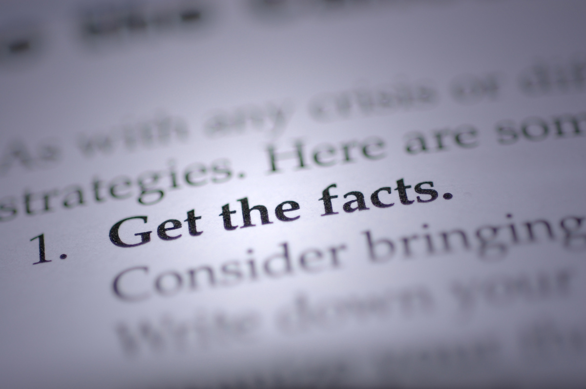 """get the facts"" in focus in a book"