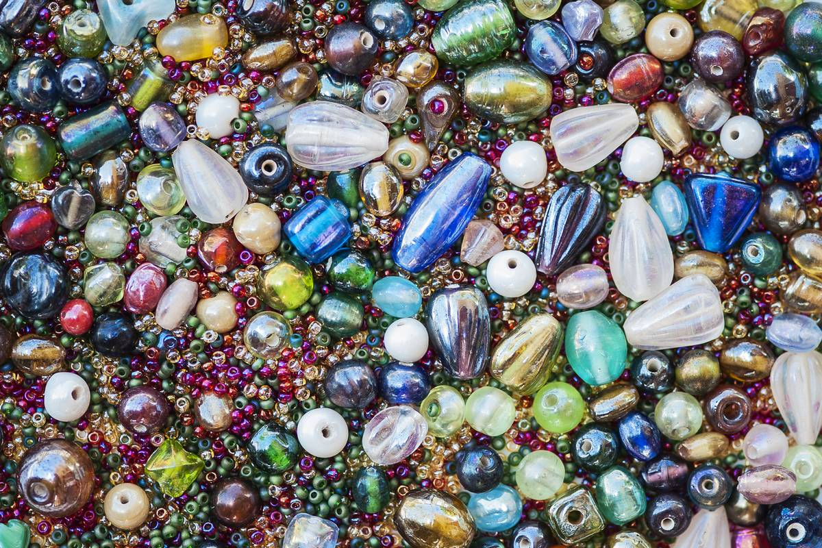 colorful beads of all sizes