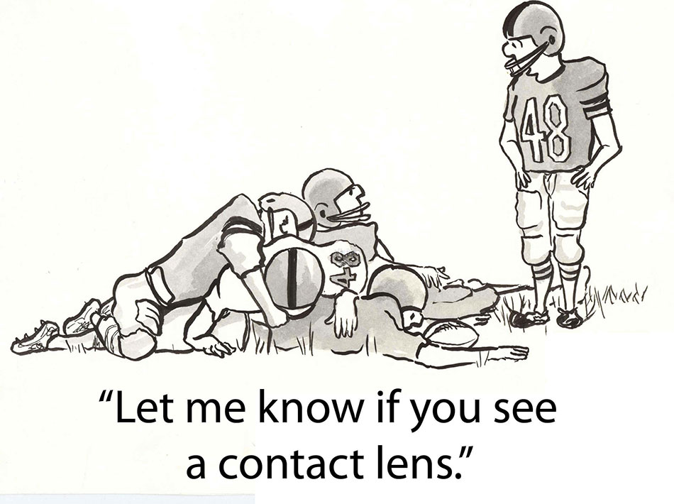 comic illustration about sports contact lenses