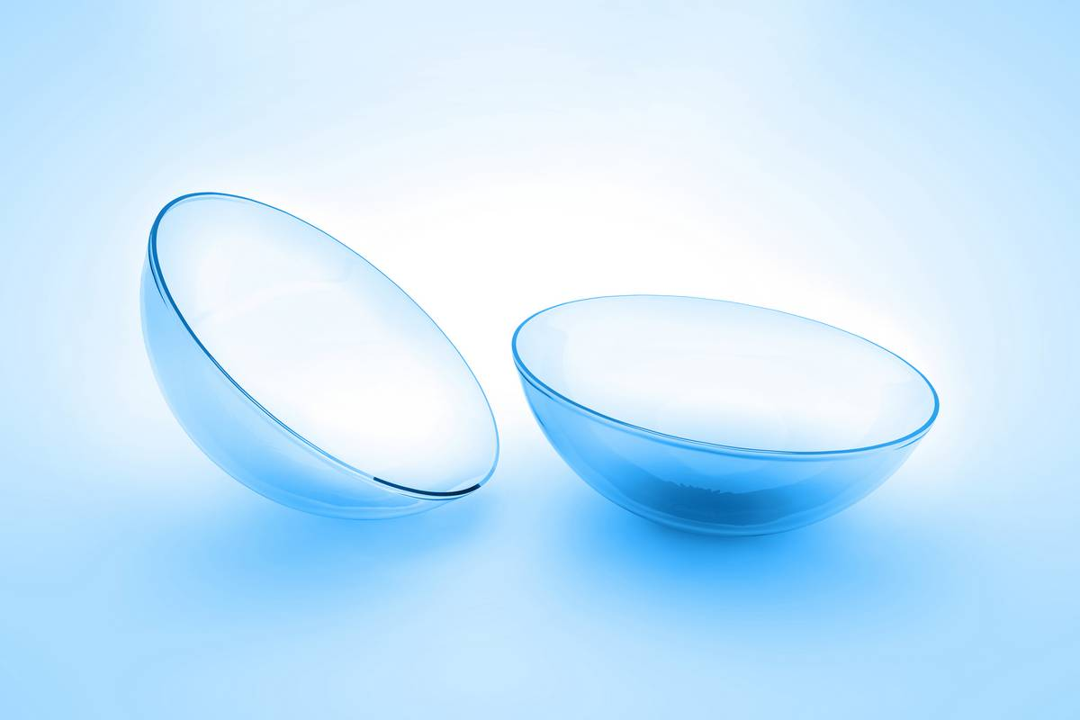 contact lenses on clear background