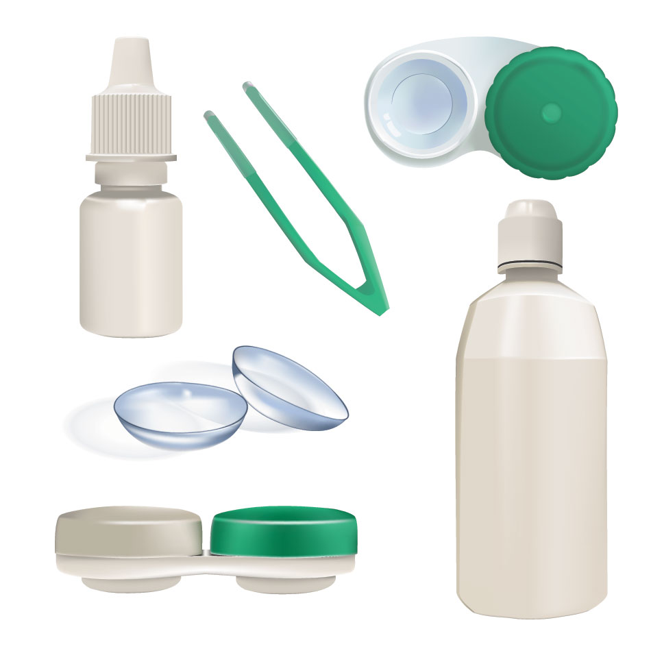 Contact lenses, case, tweezers, solution, eye drops