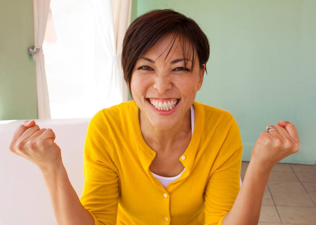 Woman showing excitement