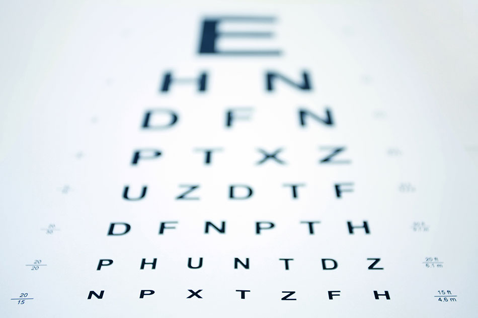 eye chart out of focus on top