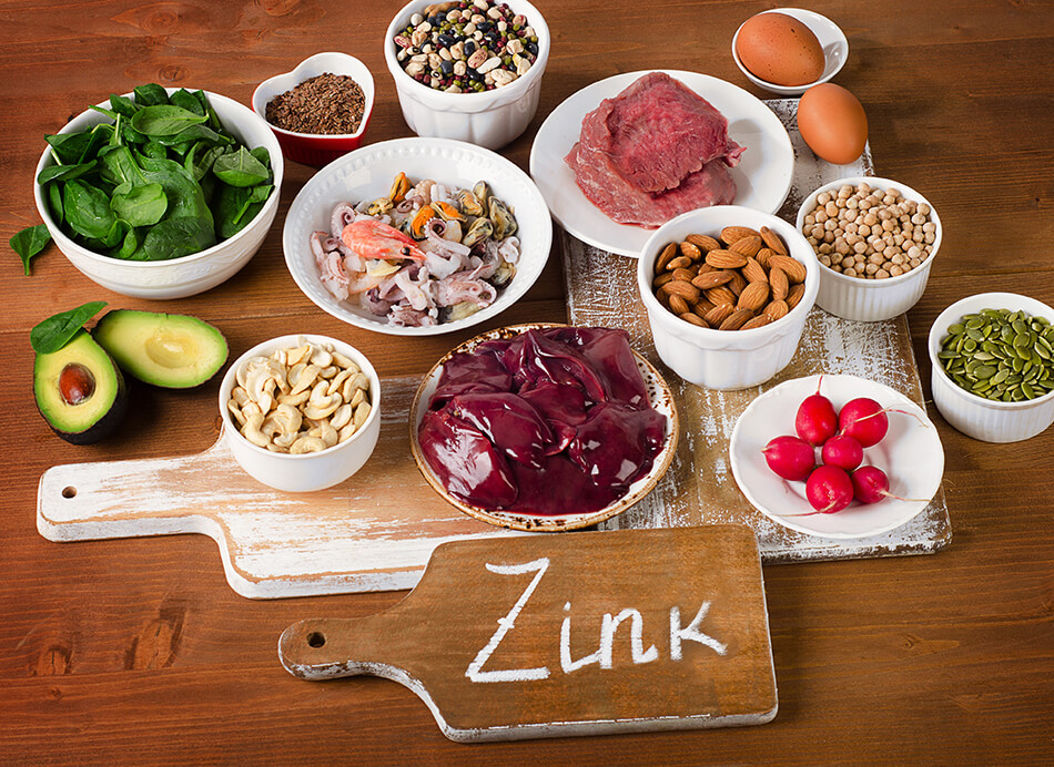 selection of foods that contain zinc