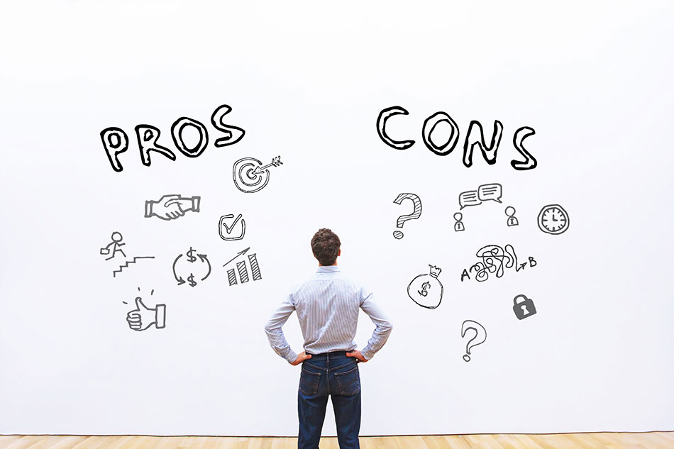 man looking at pros and cons list