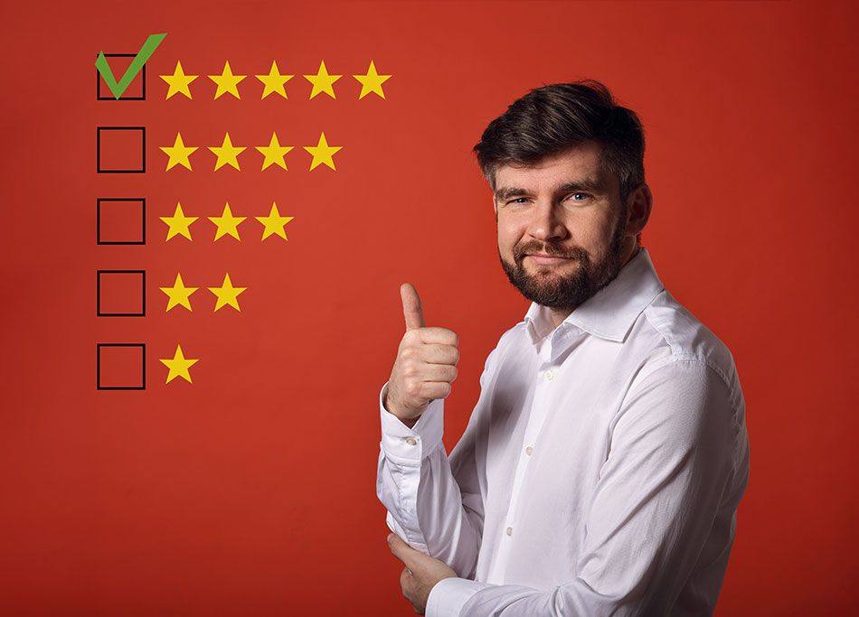 man with thumbs up and 5 star ratings, red background