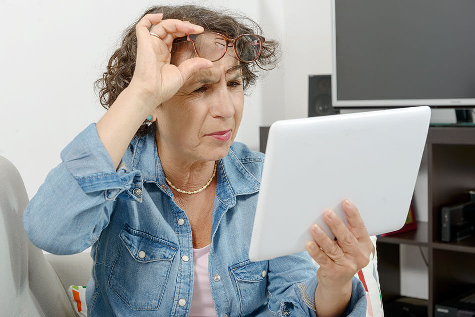 Woman having eye problems with age