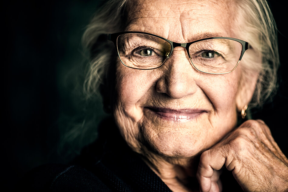 Older woman wearing glasses