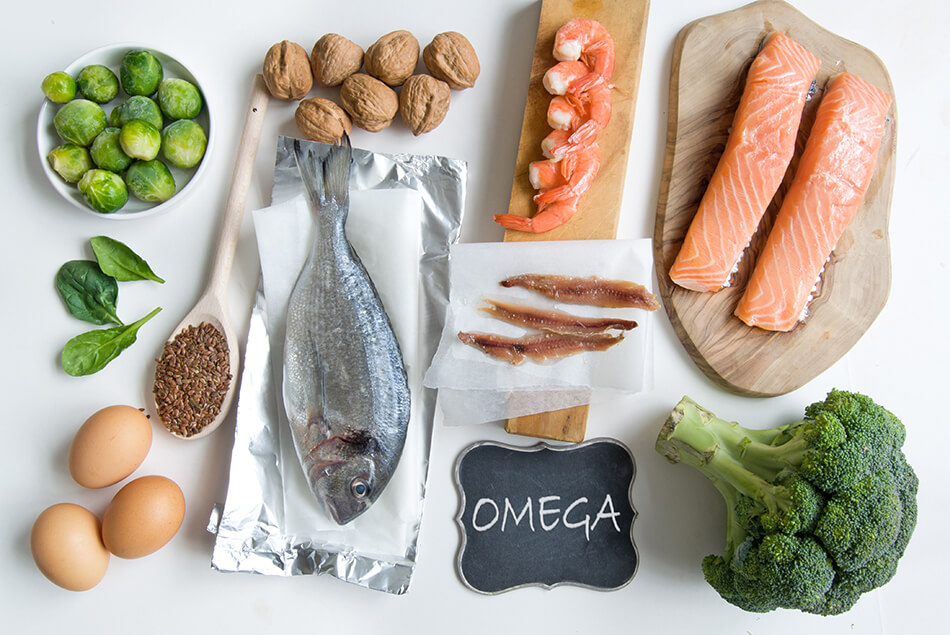 selection of fish and vegetables containing omega-3 fatty acids