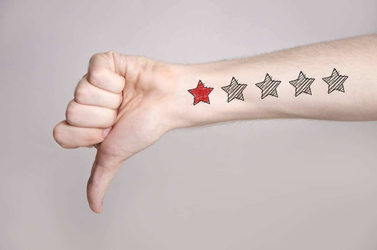 One star drawn on an arm which shows a thumbs down