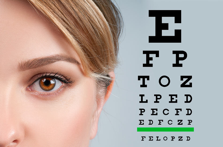 woman looking at perfect vision eye chart