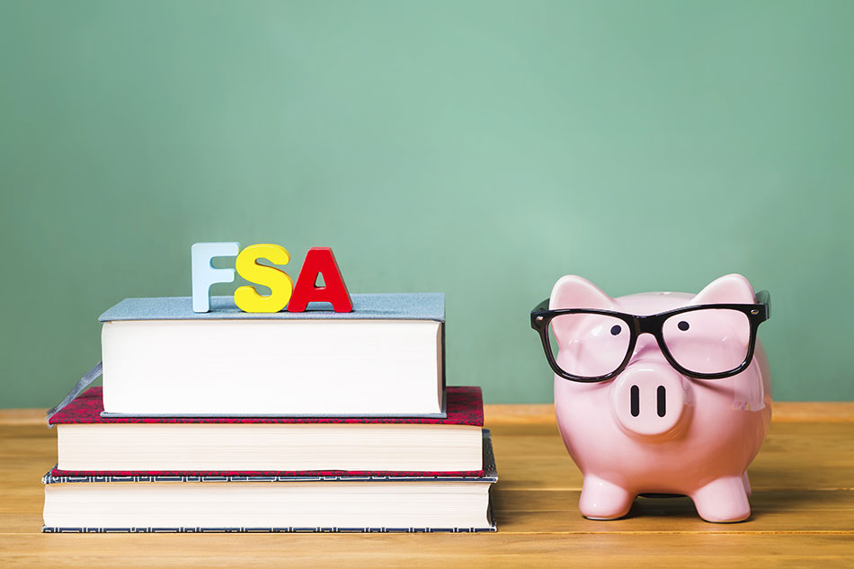 Piggy bank wearing glasses next to books with letters FSA on top