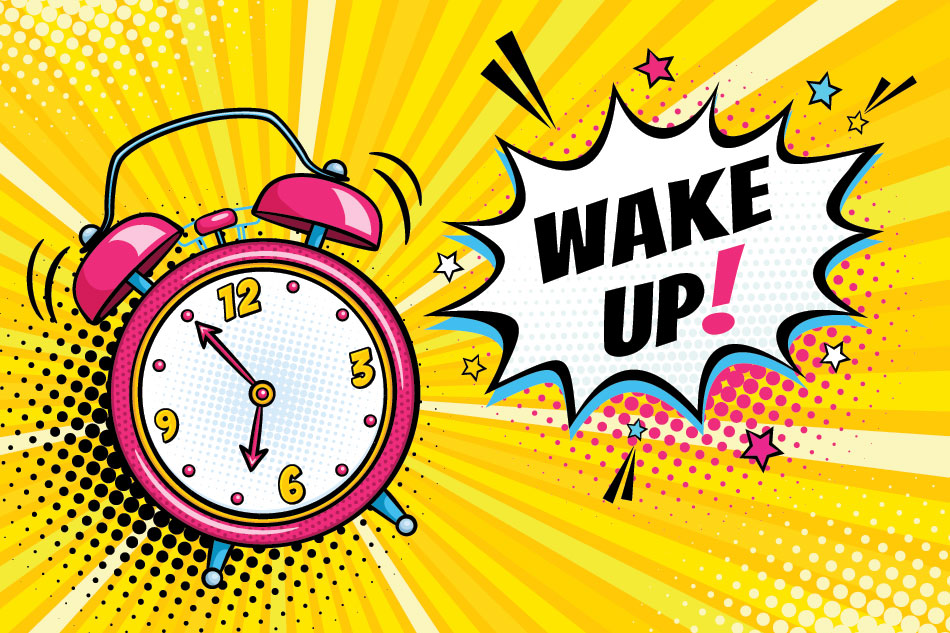 pop-art illustration with old school clock and wake up text