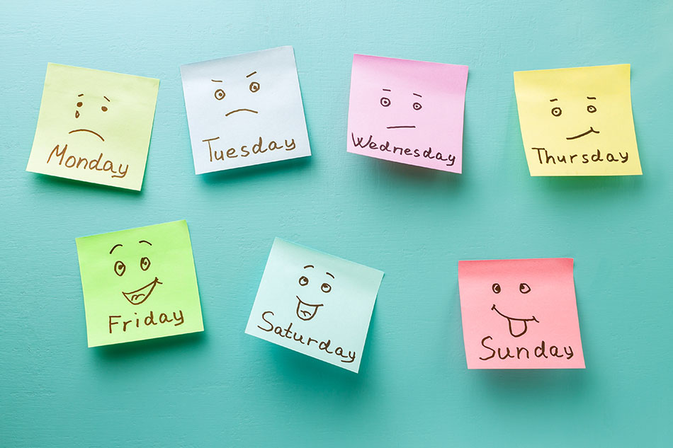 post-its with days of the week and faces on them