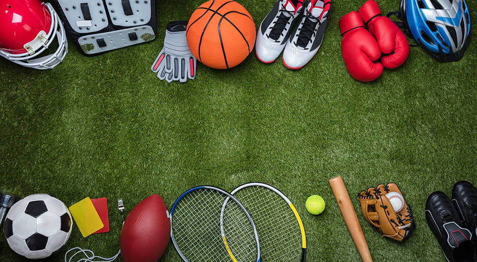 sports gear on grass