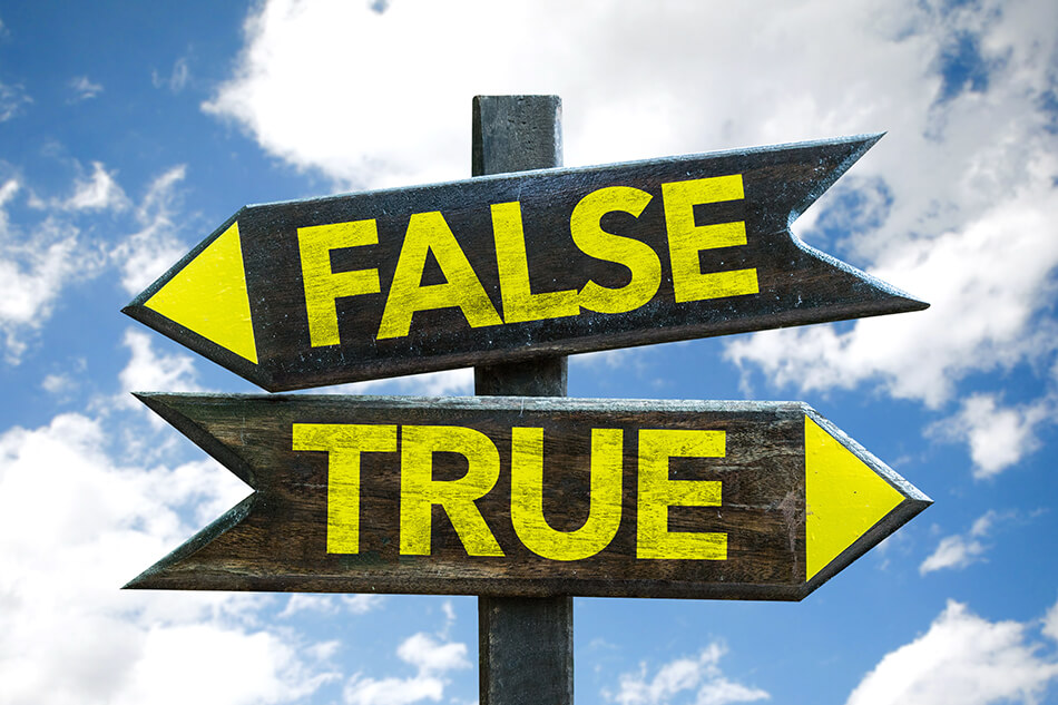 true vs false signpost on sky with clouds background