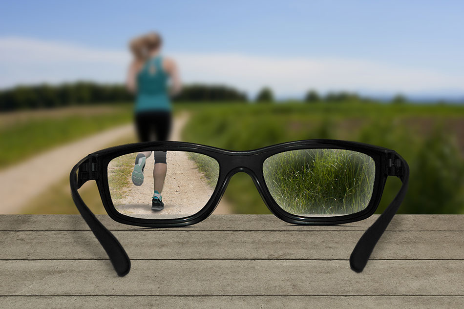 woman running leaving glasses behind on wood table