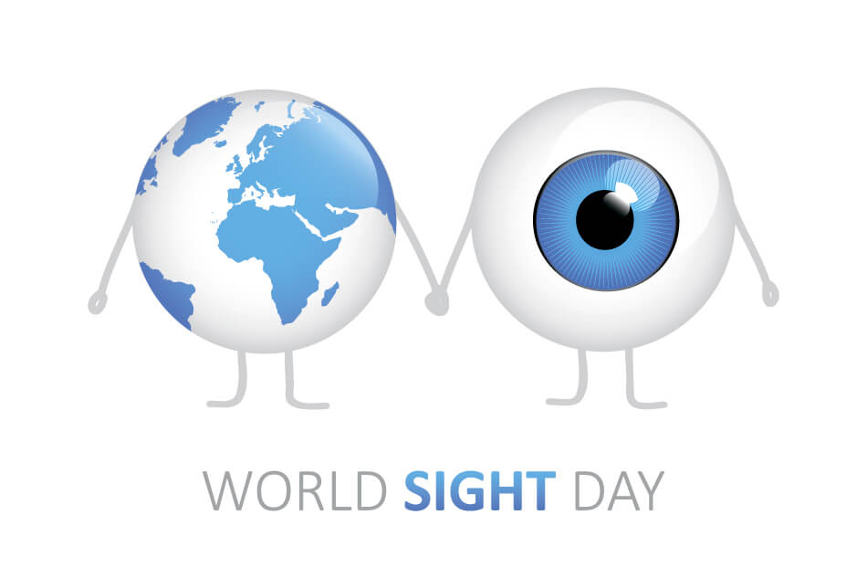 cartoon of globe and eyeball holding hands above the words World Sight Day