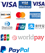 Paypal, worldpay, visa, mastercard, americanexpress, discover, diners, unionpay, alipay, jcb, paypal